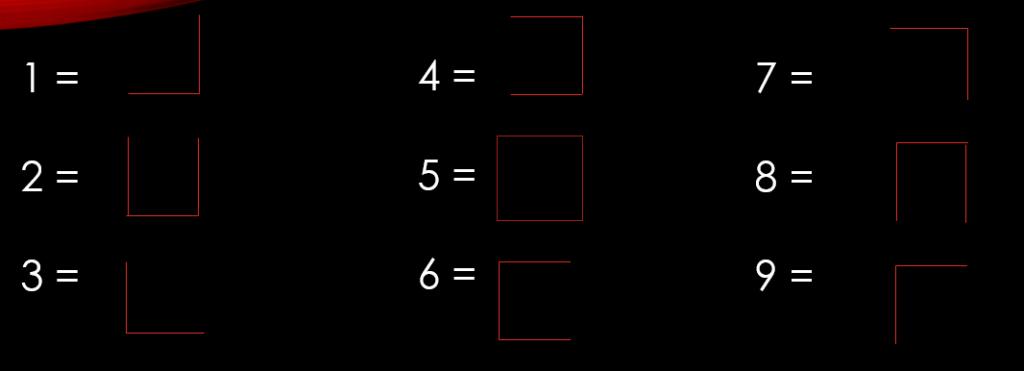 código de líneas del 1 al 9