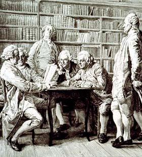 Hombres del siglo XIX charlando