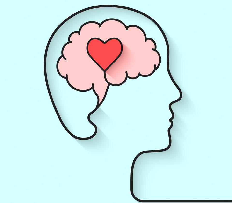 dibujo de un cerebro con un corazón dentro