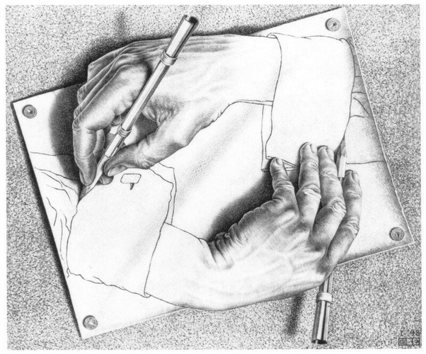 Dibujo de manos pintándose mutuamente