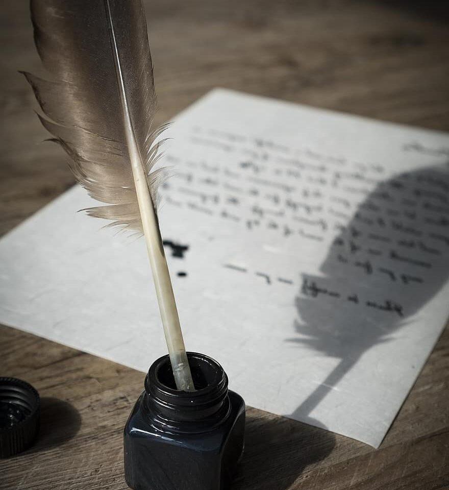 pluma de ave para escribir